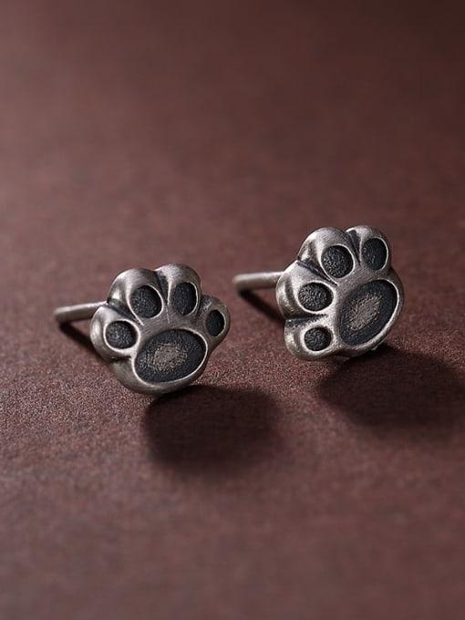 DEER 925 Sterling Silver Irregular Vintage Stud Earring 2
