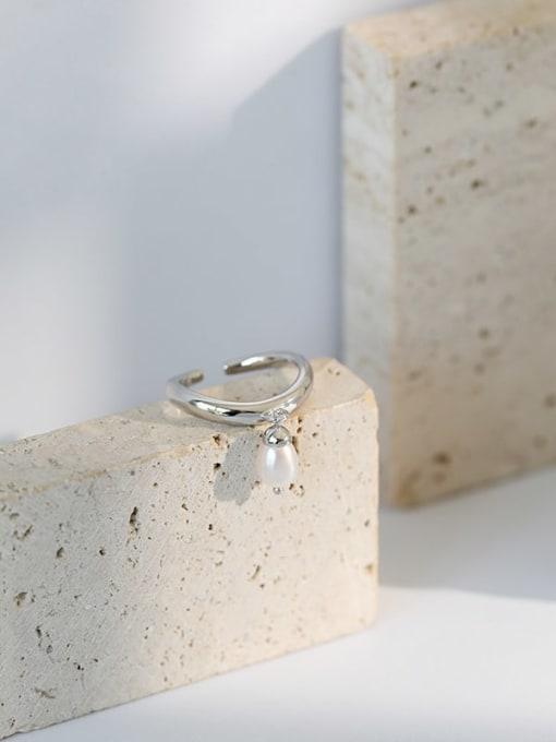 DAKA 925 Sterling Silver Freshwater Pearl Irregular Vintage Band Ring 1