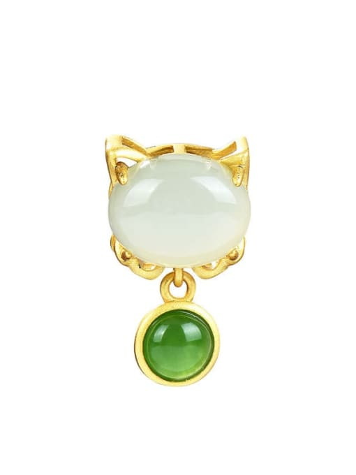 DEER 925 Sterling Silver  Cute Jade  Cat Pendant 0