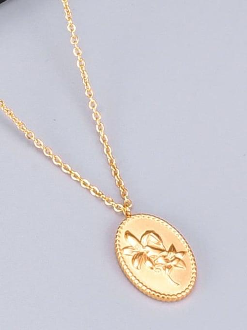 A TEEM Titanium Oval Flowers Minimalist  pendant Necklace 3