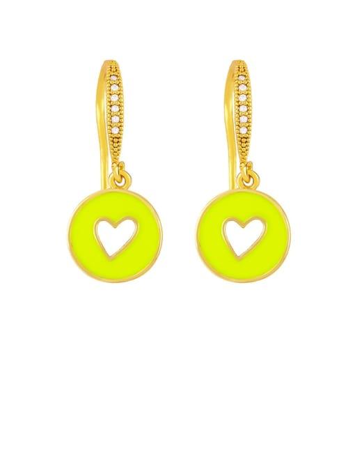 yellow Brass Enamel Heart Vintage Huggie Earring