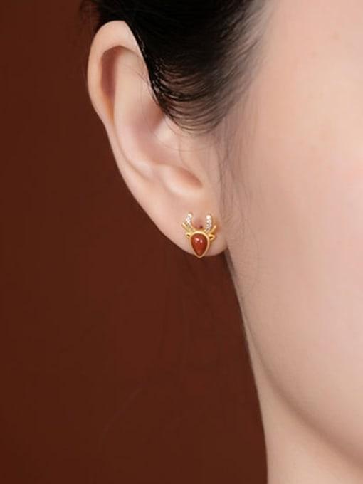 DEER 925 Sterling Silver Carnelian Water Drop Vintage Stud Earring 1