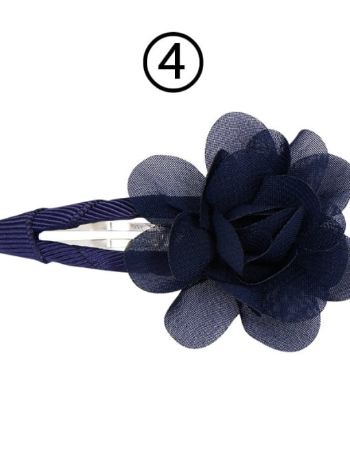 4 navy blue Alloy Yarn Minimalist Flower  Multi Color Hair Barrette