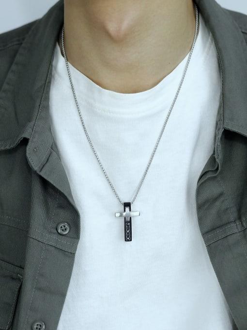 Open Sky Titanium Steel Cubic Zirconia Cross Hip Hop Regligious Necklace 3