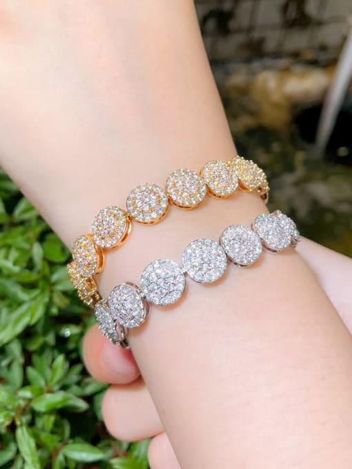 L.WIN Brass Cubic Zirconia Round Luxury Bracelet 3