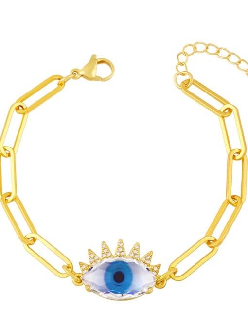 CC Brass Enamel Evil Eye Vintage Link Bracelet 3