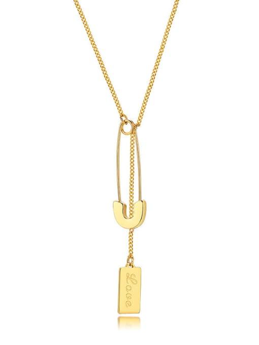 CONG Stainless steel Geometric  Tassel Minimalist Lariat Necklace 0