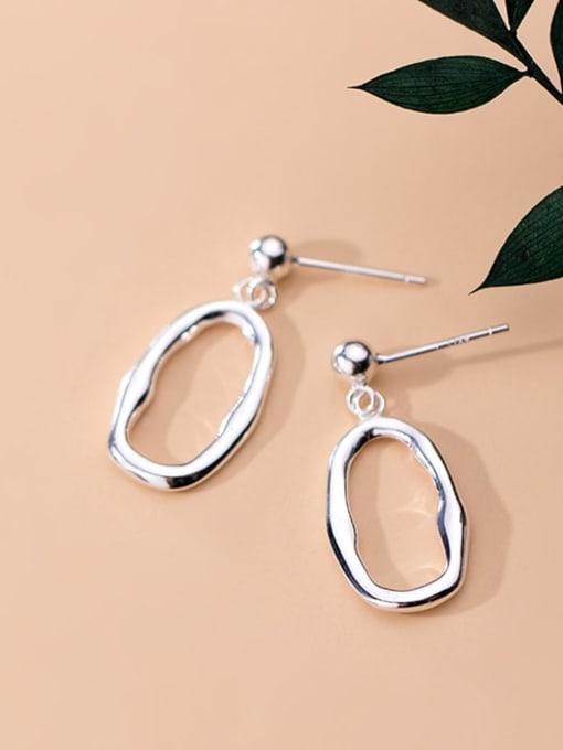 Rosh 925 Sterling Silver Minimalist Hollow Geometric  Drop Earring 1