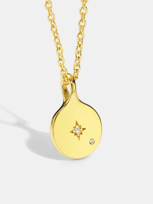 CHARME Brass Rhinestone Geometric Minimalist Cuban Necklace 0