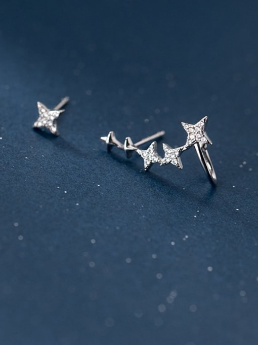 Rosh 925 Sterling Silver Cubic Zirconia Asymmetric  Star Dainty Stud Earring 1