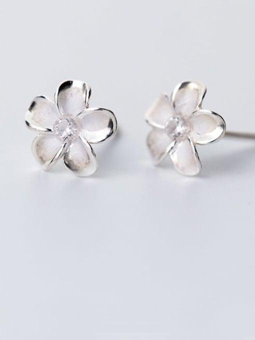 Rosh 925 Sterling Silver Flower Minimalist Stud Earring 1