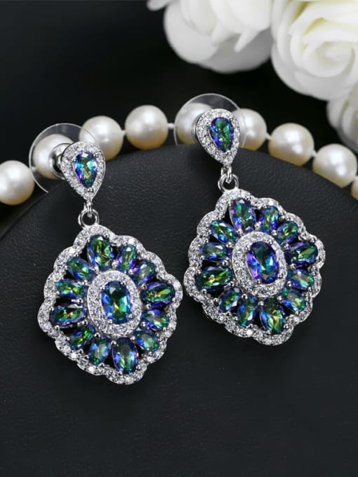 Colorful blue Brass Cubic Zirconia Geometric Luxury Drop Earring