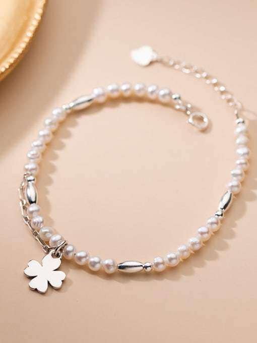 Rosh 925 Sterling Silver Imitation Pearl Flower Minimalist Bracelet 1