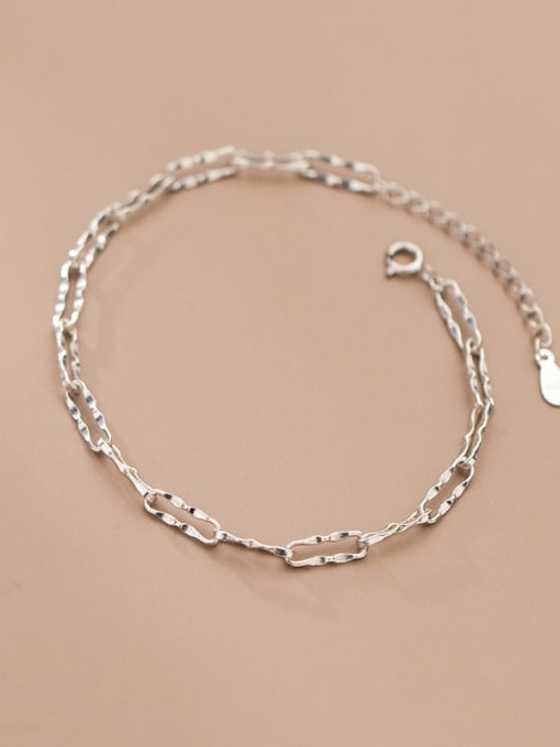 Rosh 925 Sterling Silver Geometric Chain  Minimalist Link Bracelet 1