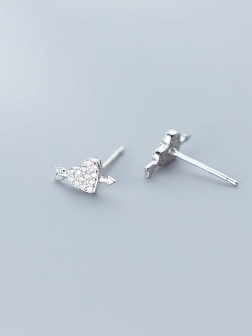 Rosh 925 Sterling Silver Cubic Zirconia  Heart Classic Stud Earring 2