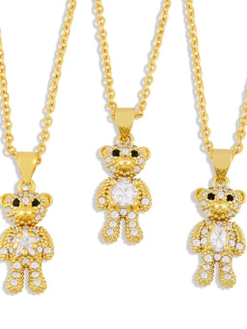 MMBEADS Brass Cubic Zirconia  Cute Bear Pendant Necklace