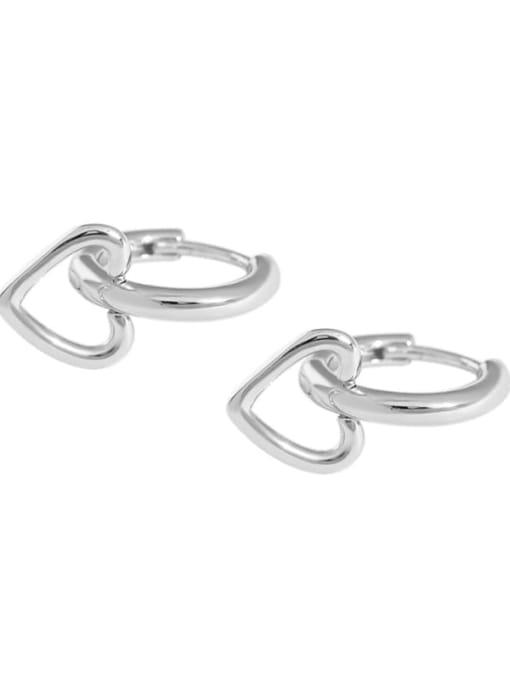 Platinum 925 Sterling Silver Smooth Heart Minimalist Huggie Earring