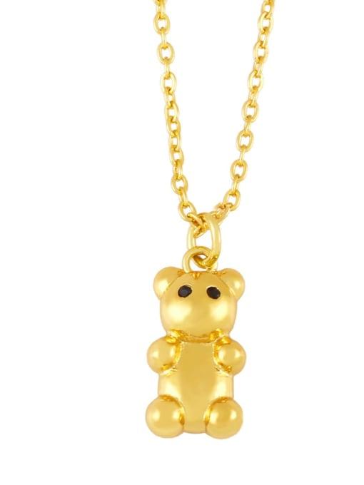 D Brass Icon Cute Little bear leopard head Pendant Necklace