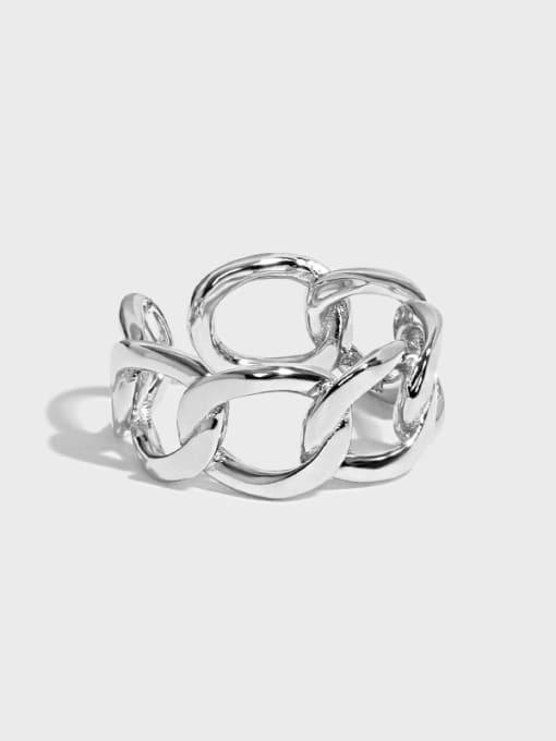 DAKA 925 Sterling Silver Geometric Minimalist Band Ring 0