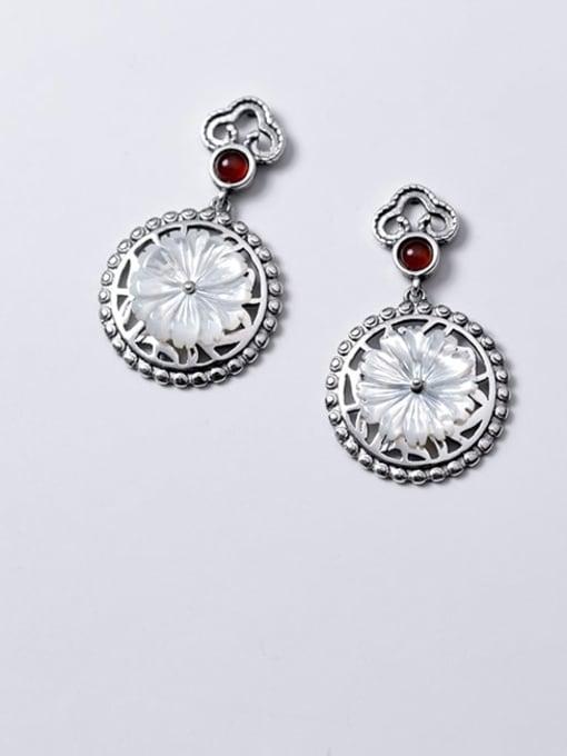 Rosh 925 Sterling Silver Shell Flower Vintage Drop Earring 2