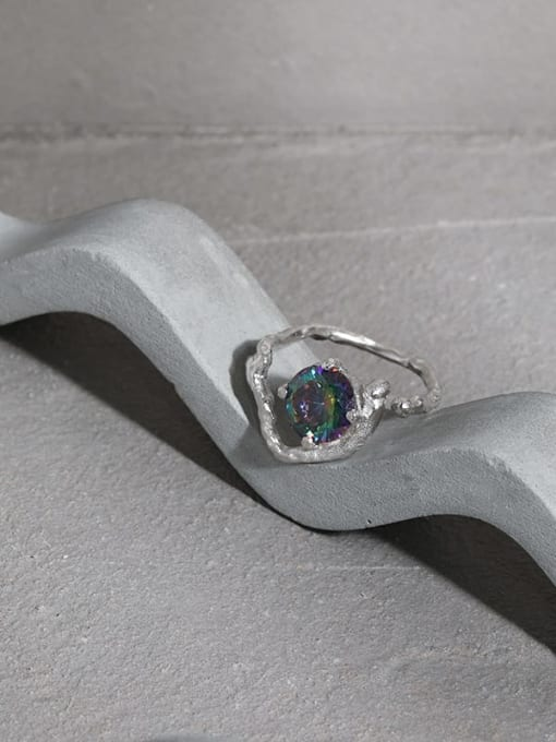 DAKA 925 Sterling Silver Glass Stone Heart Vintage Band Ring 1