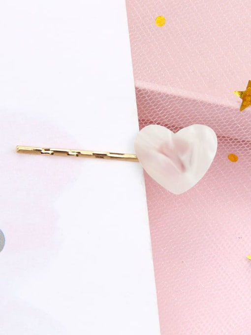 Love fresh powder Alloy Cellulose Acetate Minimalist Heart Hair Pin