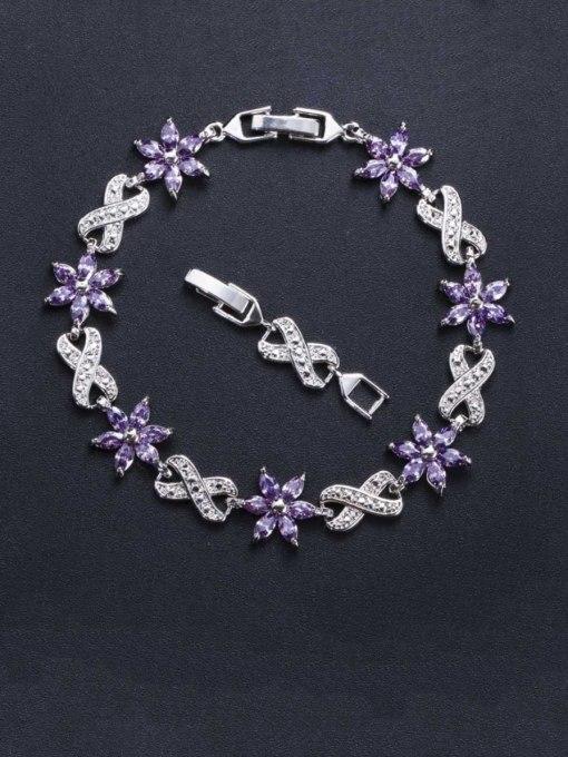 purple Brass Cubic Zirconia Flower Luxury Bracelet