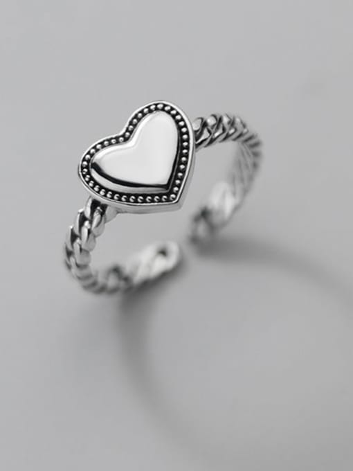 Rosh 925 Sterling Silver Heart Vintage Band Ring 0