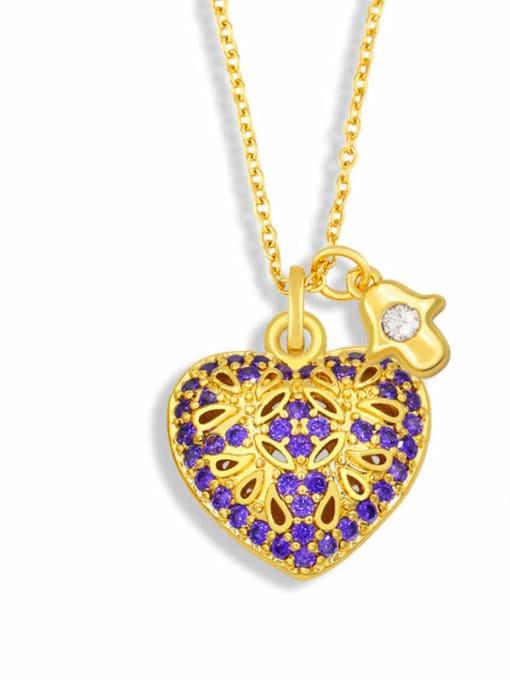E Brass Cubic Zirconia Heart Vintage Necklace