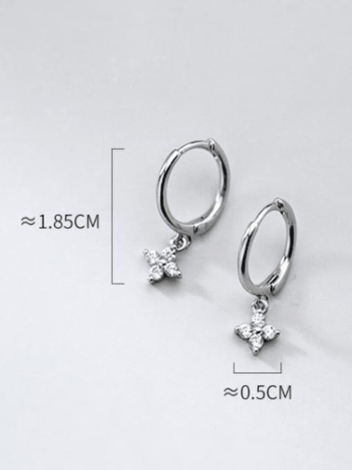 Rosh 925 Sterling Silver Cubic Zirconia Clover Minimalist Huggie Earring 4