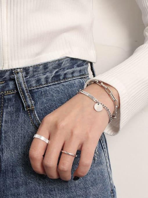 DAKA 925 Sterling Silver Irregular Vintage Link Bracelet 1