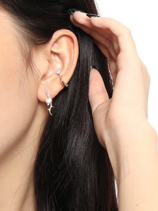 DAKA 925 Sterling Silver Cubic Zirconia Heart Minimalist Single Earring 2