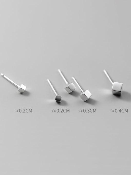 Rosh 925 Sterling Silver Geometric Minimalist Stud Earring 0