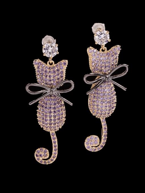 purple Brass Cubic Zirconia Cat Cute Drop Earring