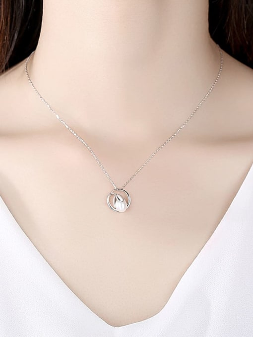 CCUI 925 Sterling Silver Freshwater Pearl Geometric Minimalist Necklace 1