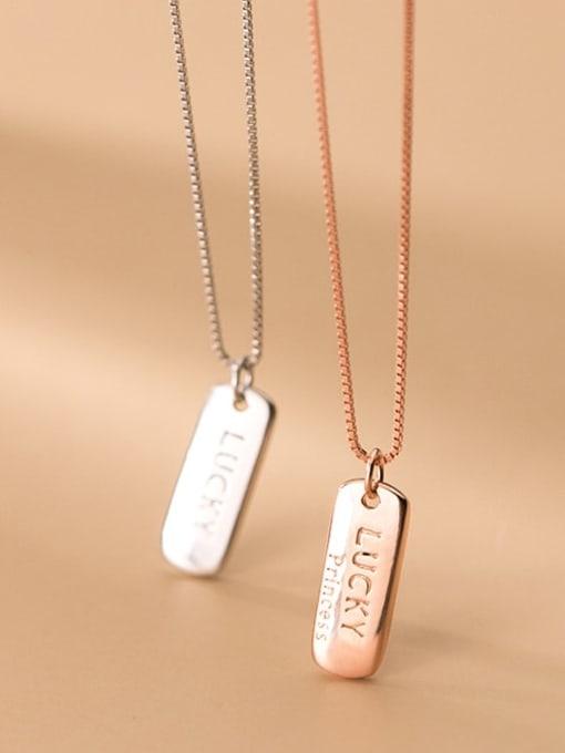 Rosh 925 Sterling Silver Letter geometry Minimalist Necklace