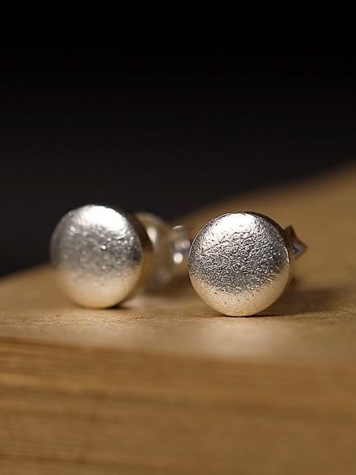 DEER 925 Sterling Silver Round Vintage Stud Earring 2