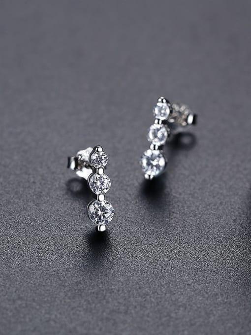 Rh 24J08 925 Sterling Silver Cubic Zirconia Geometric Minimalist Drop Earring