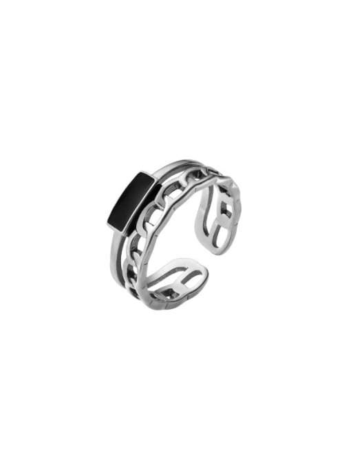 Rosh 925 Sterling Silver Acrylic Geometric Vintage Stackable Ring