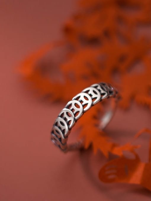 Rosh 925 Sterling Silver Coin Vintage Band Ring