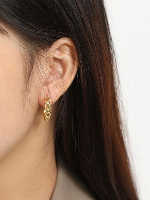 DAKA 925 Sterling Silver Hollow Geometric Vintage Stud Earring 2