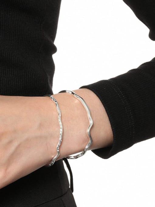 DAKA 925 Sterling Silver Irregular Minimalist Cuff Bangle 3