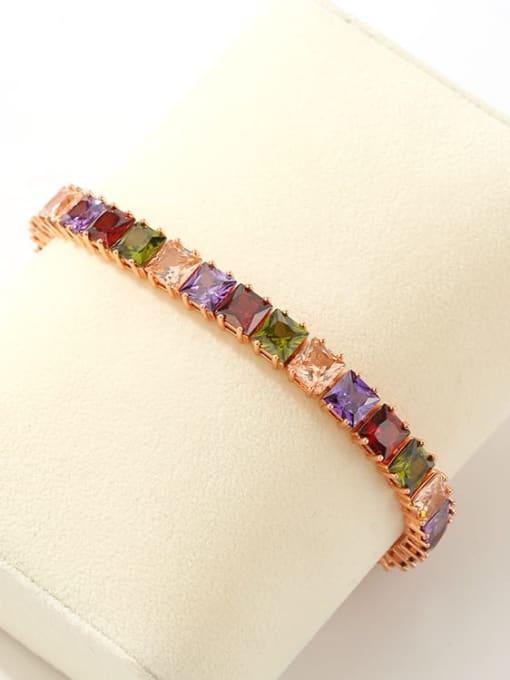 DUDU Brass Multi Color Geometric Cubic Zirconia  Dainty Bracelet 4