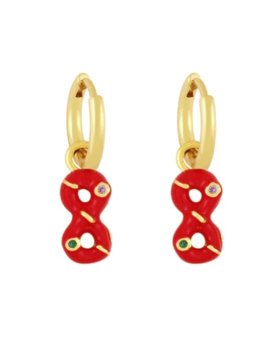 red Brass Rhinestone Enamel Number 8 Trend Huggie Earring