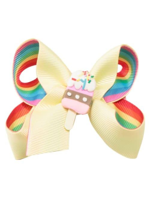2 yellow rainbow ice cream Alloy  Fabric Cute Bowknot Multi Color Hair Barrette