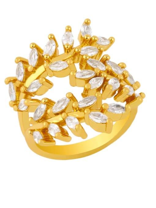 gold Brass Cubic Zirconia Leaf Vintage Band Ring