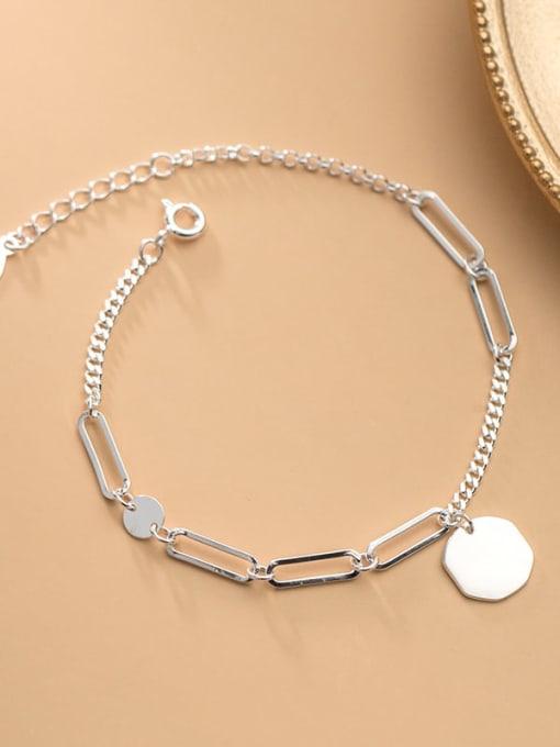 Rosh 925 Sterling Silver Hollow Geometric Minimalist Adjustable Bracelet
