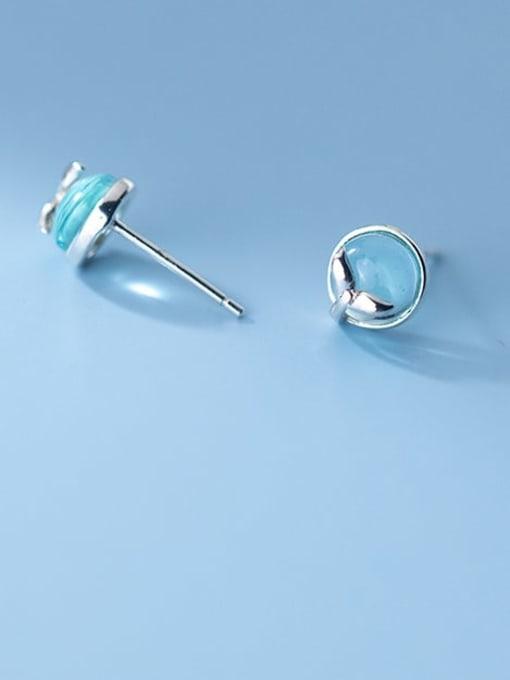 Rosh 925 Sterling Silver Cats Eye Round Minimalist Stud Earring