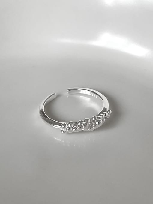 B bubble j1545 925 Sterling Silver Bead Round Minimalist Band Ring