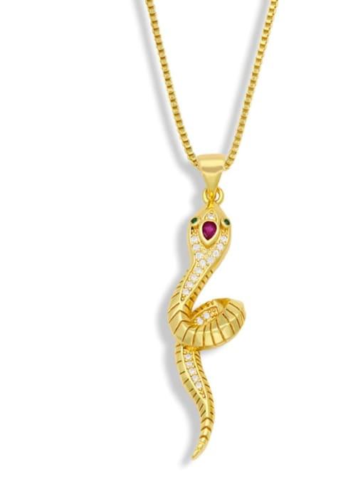 B Brass Rhinestone Animal Vintage Necklace